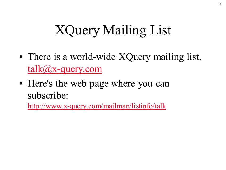 114 Comments XQuery uses the same syntax for comments as XPath 2.0 { let $source := doc( FitnessCenter.xml ) let $colors := $source//FavoriteColor let $distinct := distinct-values($colors) for $i in $distinct (: Show distinct FavoriteColor values :) return {$i} }