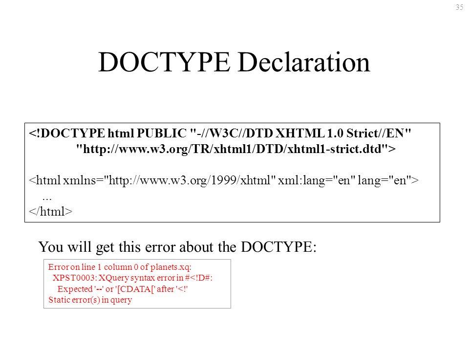 35 DOCTYPE Declaration <!DOCTYPE html PUBLIC -//W3C//DTD XHTML 1.0 Strict//EN http://www.w3.org/TR/xhtml1/DTD/xhtml1-strict.dtd >...