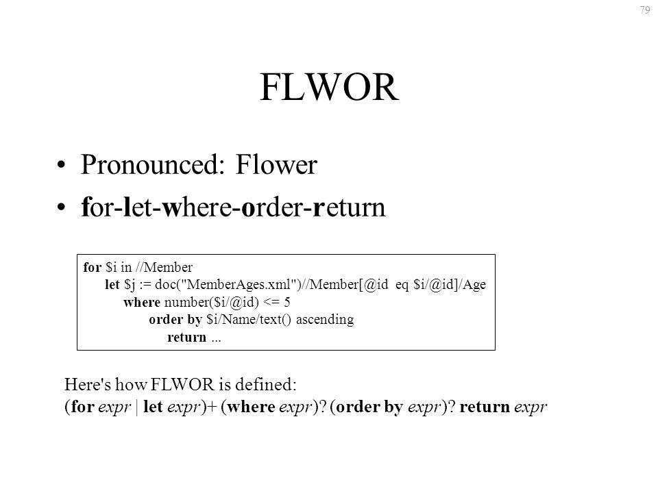79 FLWOR Pronounced: Flower for-let-where-order-return for $i in //Member let $j := doc( MemberAges.xml )//Member[@id eq $i/@id]/Age where number($i/@id) <= 5 order by $i/Name/text() ascending return...