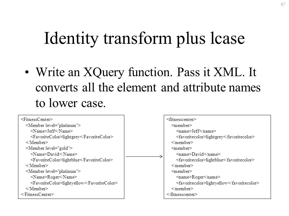 97 Identity transform plus lcase Write an XQuery function.