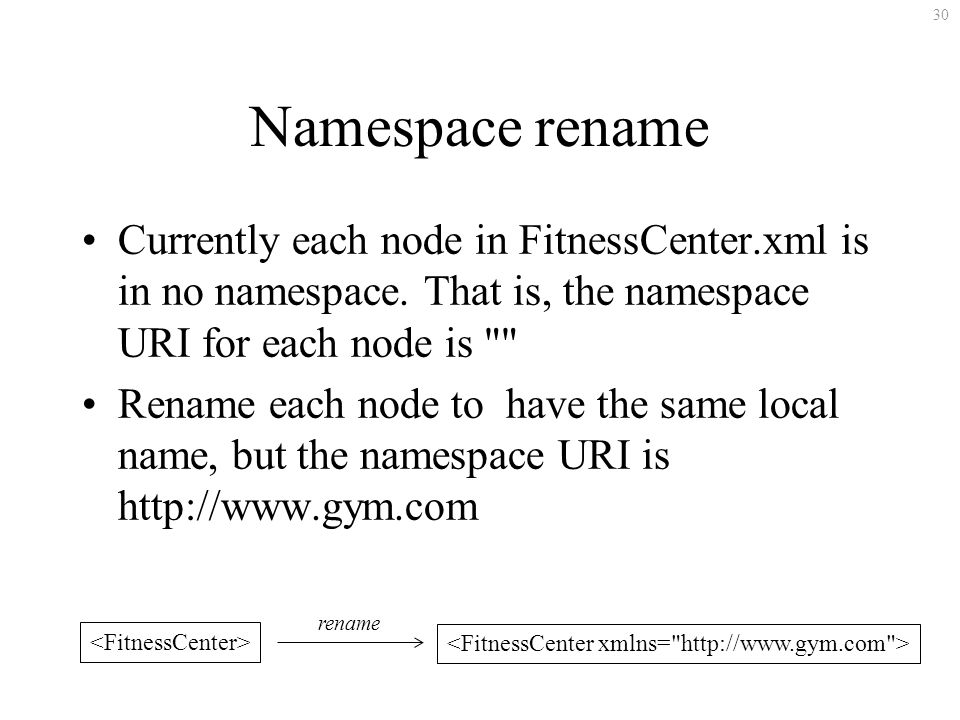 30 Namespace rename Currently each node in FitnessCenter.xml is in no namespace.