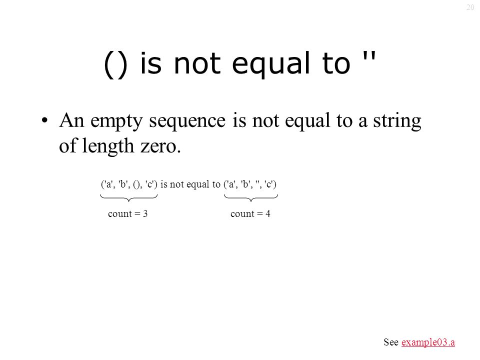 20 () is not equal to An empty sequence is not equal to a string of length zero.