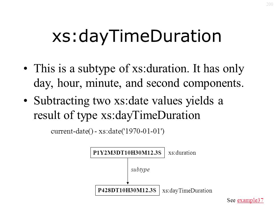 200 xs:dayTimeDuration This is a subtype of xs:duration.
