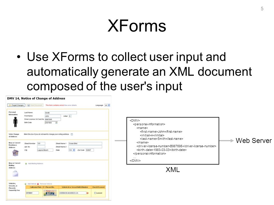 5 XForms Use XForms to collect user input and automatically generate an XML document composed of the user s input John A Smith B987695 1983-03-03 … Web Server XML