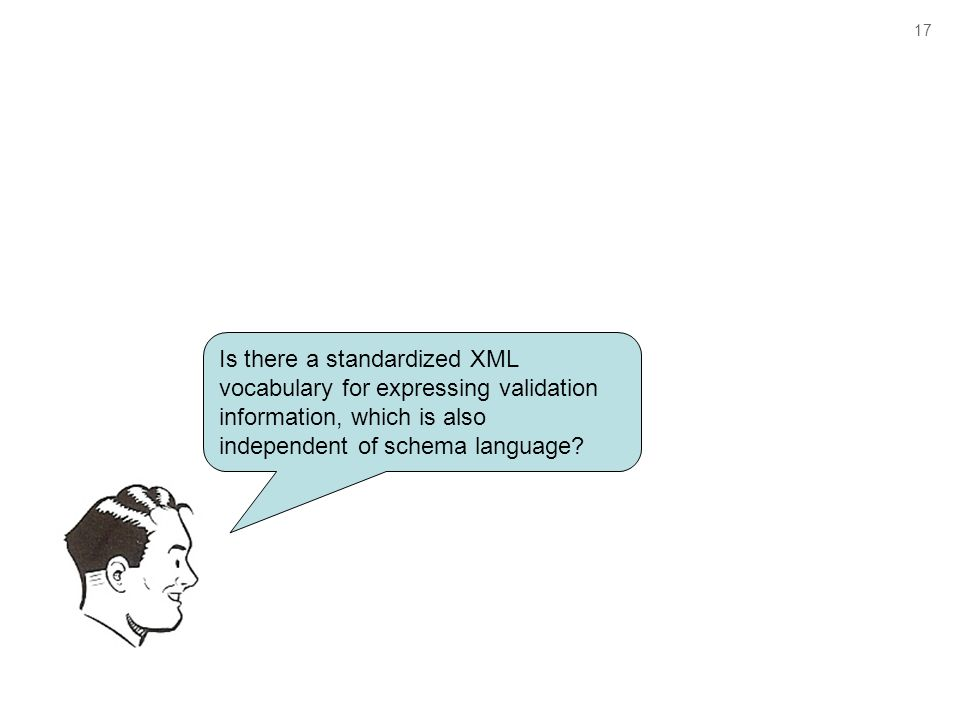 17 Is there a standardized XML vocabulary for expressing validation information, which is also independent of schema language