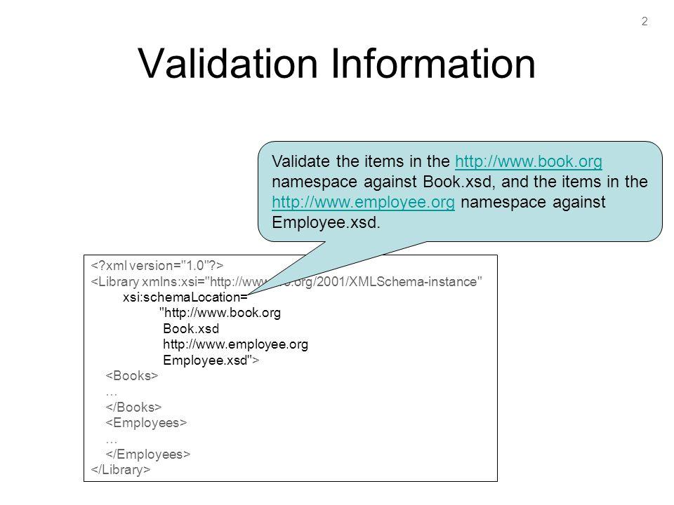2 Validation Information <Library xmlns:xsi=