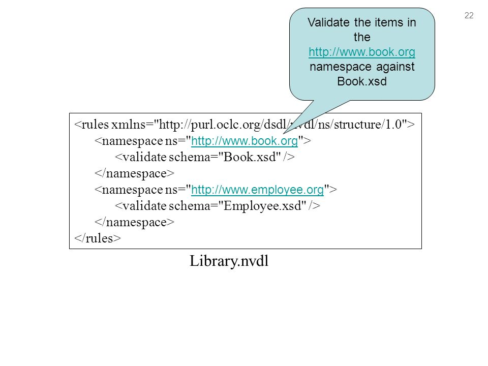 Library.nvdl Validate the items in the   namespace against Book.xsd