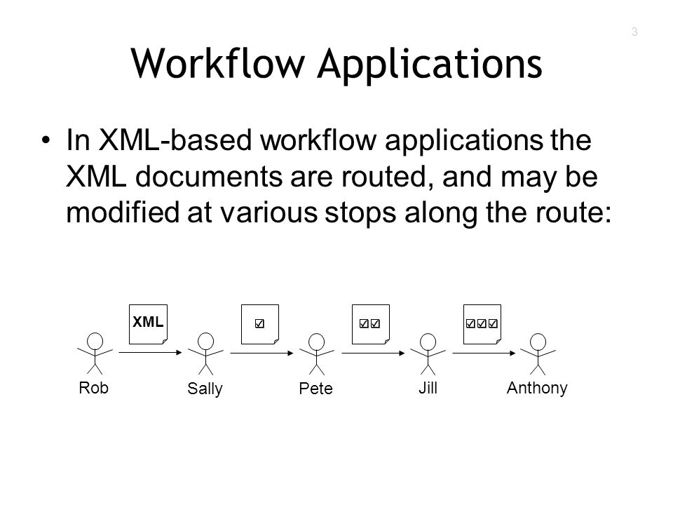 3 Workflow Applications In XML-based workflow applications the XML documents are routed, and may be modified at various stops along the route: XML Rob SallyPete JillAnthony