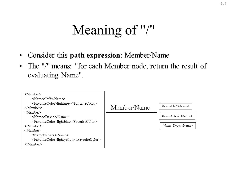 104 Meaning of / Consider this path expression: Member/Name The / means: for each Member node, return the result of evaluating Name .