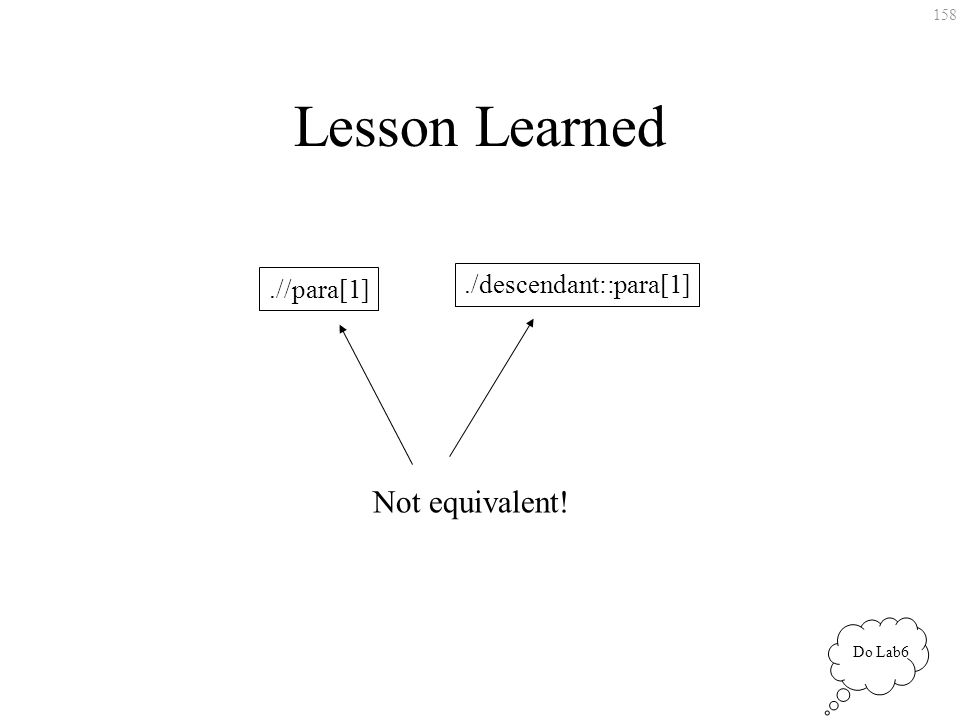 158 Lesson Learned.//para[1]./descendant::para[1] Not equivalent! Do Lab6