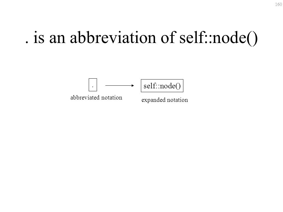 160. is an abbreviation of self::node(). self::node() expanded notation abbreviated notation