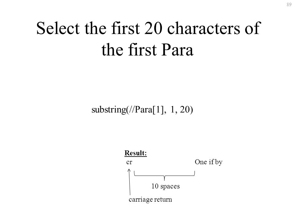 89 Select the first 20 characters of the first Para substring(//Para[1], 1, 20) Result: cr One if by carriage return 10 spaces
