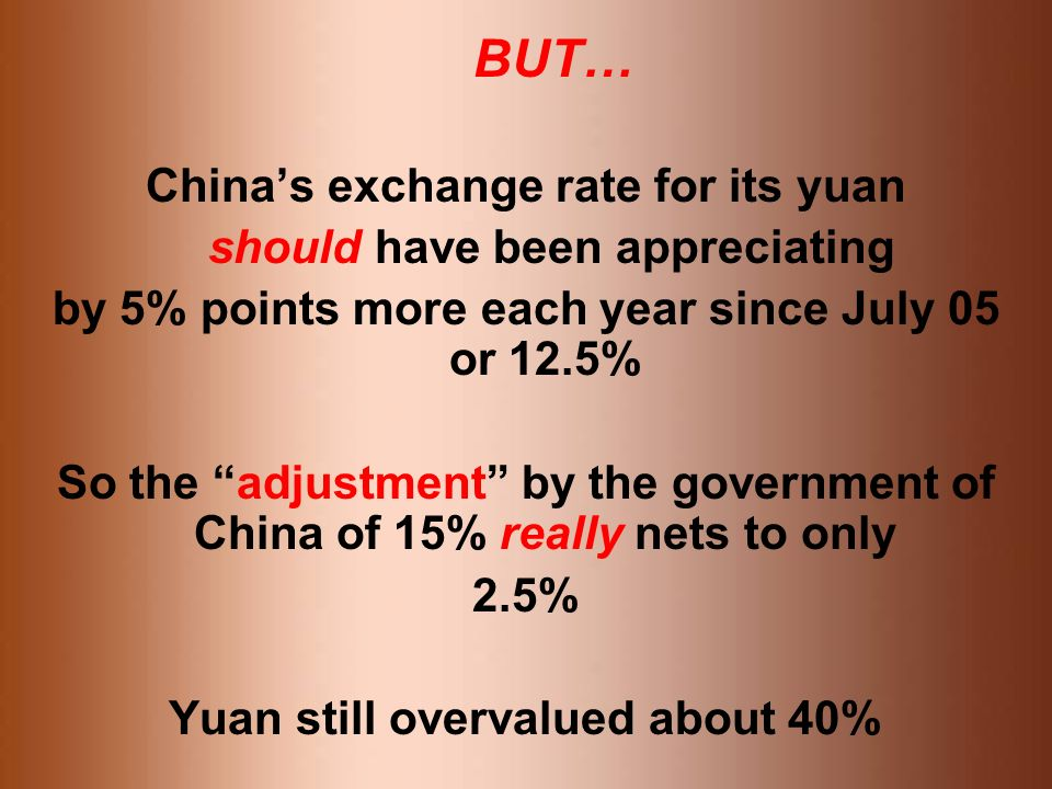 BUT… Chinas exchange rate for its yuan should have been appreciating by 5% points more each year since July 05 or 12.5% So the adjustment by the government of China of 15% really nets to only 2.5% Yuan still overvalued about 40%