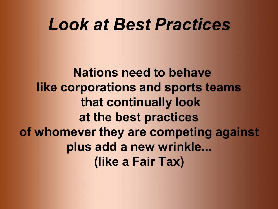 Look at Best Practices Nations need to behave like corporations and sports teams that continually look at the best practices of whomever they are competing against plus add a new wrinkle...