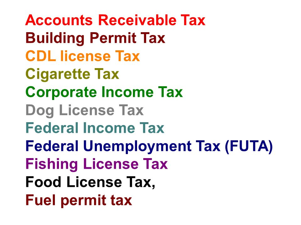 Accounts Receivable Tax Building Permit Tax CDL license Tax Cigarette Tax Corporate Income Tax Dog License Tax Federal Income Tax Federal Unemployment Tax (FUTA) Fishing License Tax Food License Tax, Fuel permit tax