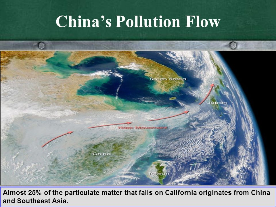 Chinas Pollution Flow Almost 25% of the particulate matter that falls on California originates from China and Southeast Asia.