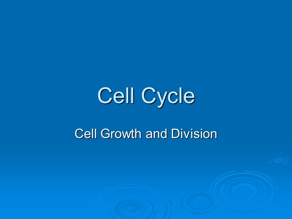Cell Cycle Cell Growth and Division