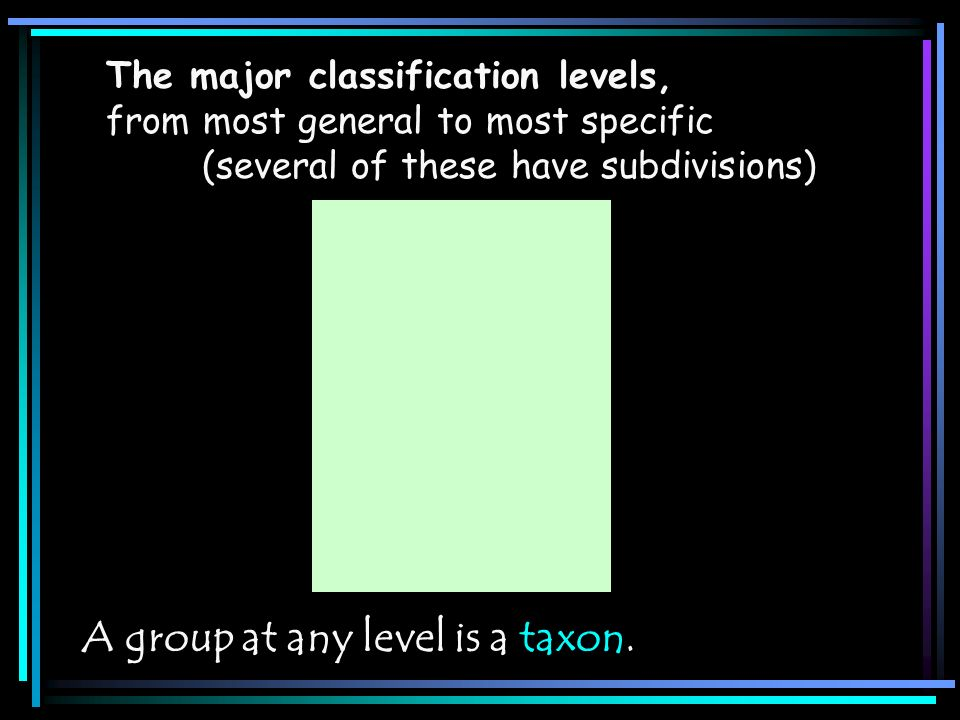 The major classification levels, from most general to most specific (several of these have subdivisions) A group at any level is a taxon.