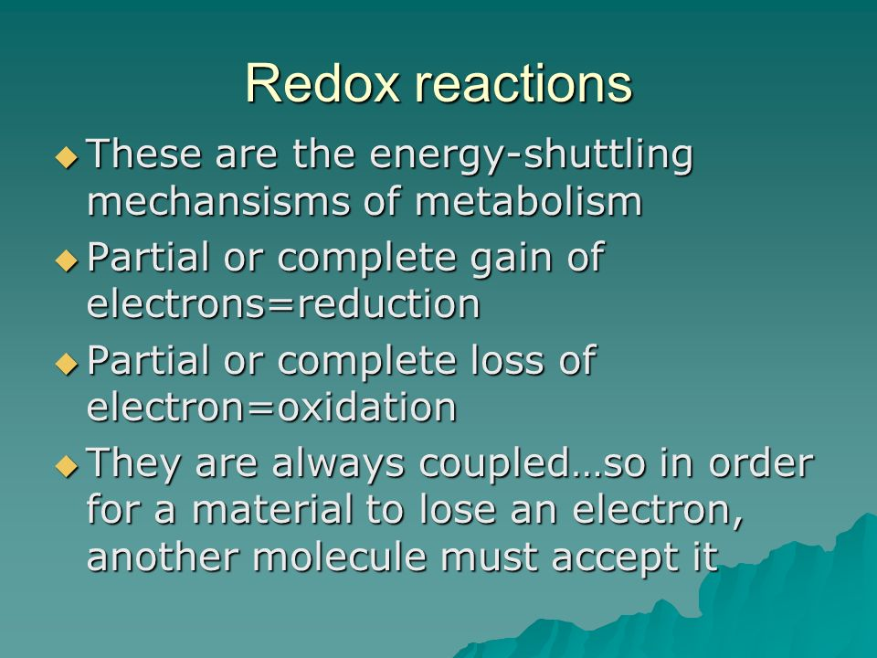 The NAD+, NADH, FAD+, FADH NAD+ and FAD+ are coenzymes that function in the redox reactions and are found in all cells.