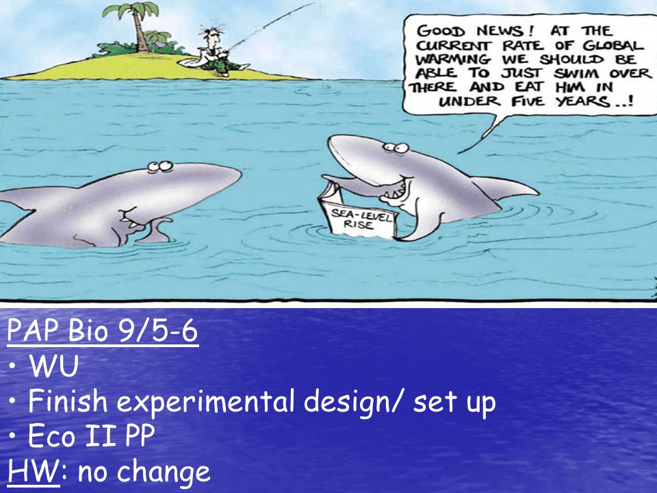 PAP Bio 9/5-6 WU Finish experimental design/ set up Eco II PP HW: no change