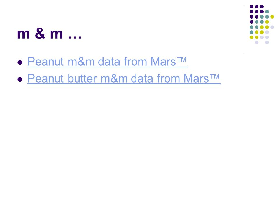 m & m … Peanut m&m data from Mars Peanut butter m&m data from Mars