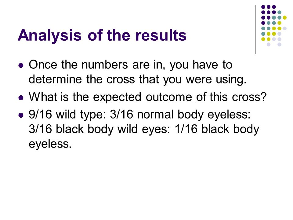 Analysis of the results Once the numbers are in, you have to determine the cross that you were using.