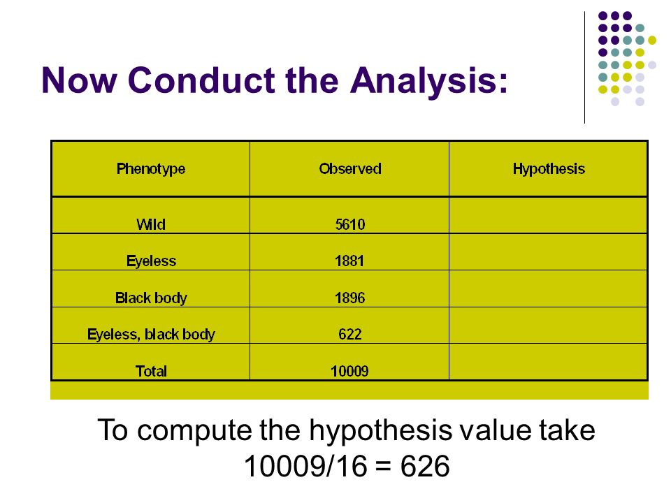Now Conduct the Analysis: To compute the hypothesis value take 10009/16 = 626