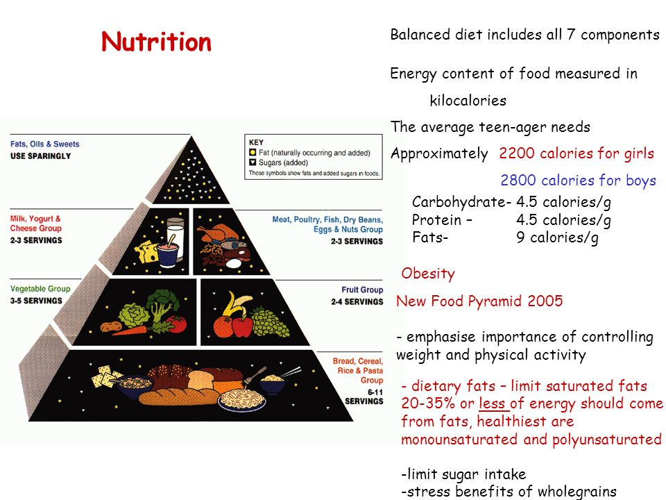 Nutrition Balanced diet includes all 7 components Carbohydrate- Protein – Fats- 4.5 calories/g 9 calories/g Obesity New Food Pyramid 2005 - emphasise importance of controlling weight and physical activity - dietary fats – limit saturated fats 20-35% or less of energy should come from fats, healthiest are monounsaturated and polyunsaturated Energy content of food measured in kilocalories The average teen-ager needs Approximately 2200 calories for girls 2800 calories for boys -limit sugar intake -stress benefits of wholegrains