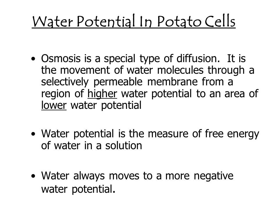 water potential of potato Investigating the water potential of a potato i have been asked to investigate the water potential of a potato during my investigation i will not actually be able.