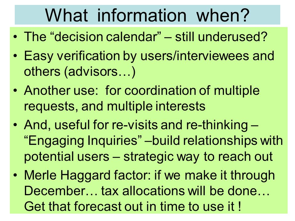 What information when. The decision calendar – still underused.