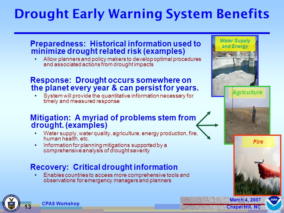 March 4, 2007 Chapel Hill, NC 13 CPAS Workshop Drought Early Warning System Benefits Preparedness: Historical information used to minimize drought related risk (examples) Allow planners and policy makers to develop optimal procedures and associated actions from drought impacts Response: Drought occurs somewhere on the planet every year & can persist for years.