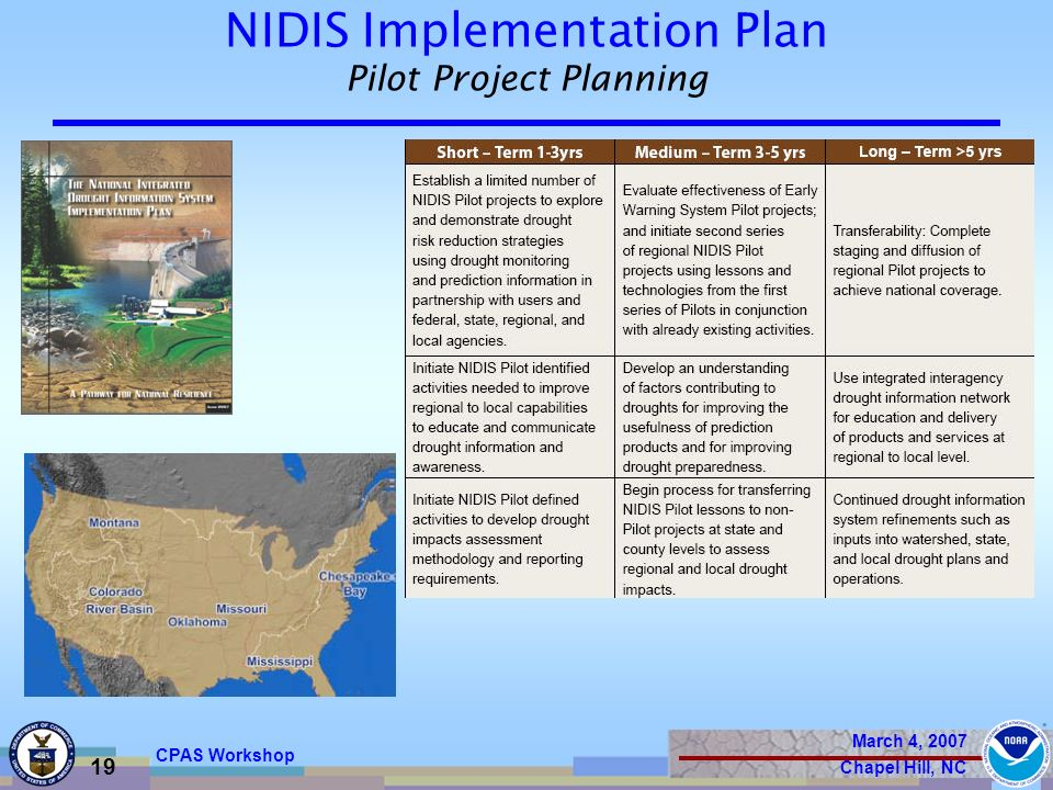 March 4, 2007 Chapel Hill, NC 19 CPAS Workshop NIDIS Implementation Plan Pilot Project Planning