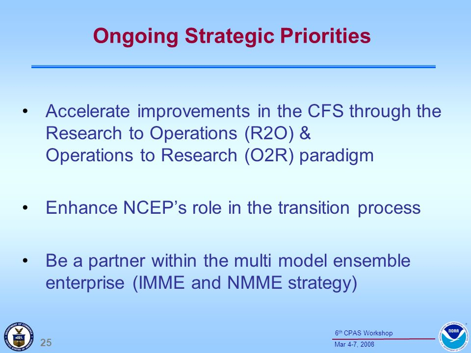 25 Mar 4-7, 2008 6 th CPAS Workshop Ongoing Strategic Priorities Accelerate improvements in the CFS through the Research to Operations (R2O) & Operati