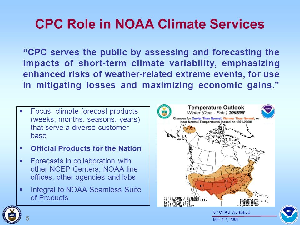6 Mar 4-7, 2008 6 th CPAS Workshop Climate Forecast System: first dynamic operational coupled climate forecast model (implemented Aug 2004) at NCEP Climate Test Bed: jointly established by CPO and NCEP in 2005 and focused on accelerating improvements in the Climate Forecast System and related seasonal forecast products Increases in the skill of CPC official seasonal outlooks (20% or more; OLenic et al.