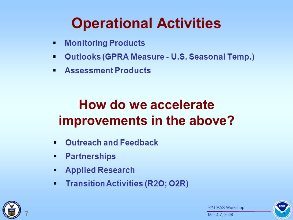 18 Mar 4-7, 2008 6 th CPAS Workshop Climate Products List ( Compiled by Kelly Redmond (WRCC) based on input from NOAA RISA Program) Topical AreaVariables HydrologySeasonal evolution of snowpack; water budget; min T; groundwater recharge; evapotranspiration budgets; mountain recharge; orographic enhancement; cloud microphysics; aerosol interactions; rain / snow levels Coastal issuesInundation; sea level rise; climate variability / change issues in low-lying areas; sea breezes; upwelling and fisheries and coastal ecosystems Air QualityInversions (individual & population; trends); Boundary layer characteristics (stability properties; trends; transport winds; pollution sources, sinks, trajectories; smoke dispersion and trajectories) Drought Soil moisture budget; evapotranspiration; causes of droughts; feedback mechanisms; tracking mechanisms; NIDIS / DEWS atmospheric effects on NDVI; multi-scale descriptors; SPI Energy Factors affecting demand (temperature, ventilation, cloudiness); sea breezes; hydropower; wind power forecasts and trends; solar energy forecasts and trends Ecological Health Fire and climate; downslope wind events (Santa Ana, Sundowner, etc); relationships to large scale; insects; pests, Pathogens; aquatic conditions; wildlife survival conditions; wildlife food supply; managed agriculture
