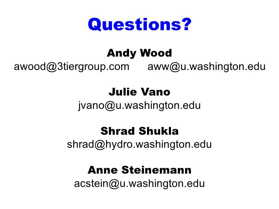 Questions? Andy Wood awood@3tiergroup.com aww@u.washington.edu Julie Vano jvano@u.washington.edu Shrad Shukla shrad@hydro.washington.edu Anne Steinema