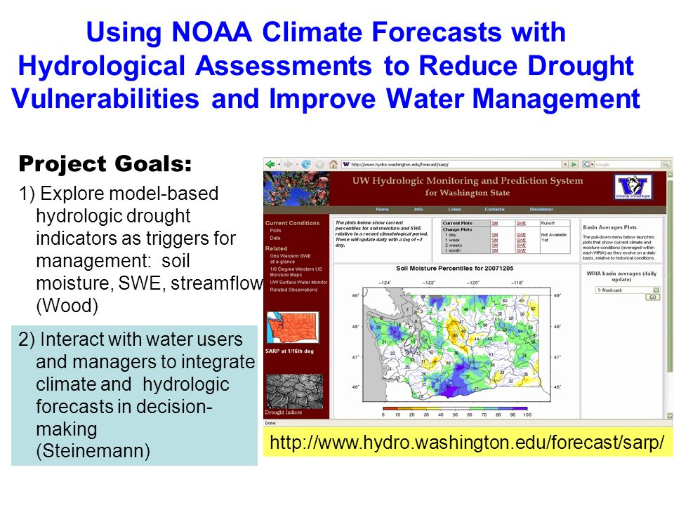 Motivation Drought among most costly natural disasters Drought in Washington agriculture losses more than $400 million in 2001 and $300 million in 2005 Climate and hydrologic forecast information helps avoid drought impacts Photo courtesy of http://www.usbr.gov/dataweb/html/yakima.html Research Activities (2 nd goal) Explore current uses of NOAA climate information in water resources management Understand user perspectives & decisions and identify service gaps