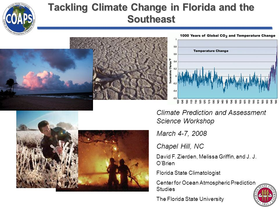 Tackling Climate Change in Florida and the Southeast Climate Prediction and Assessment Science Workshop March 4-7, 2008 Chapel Hill, NC David F.