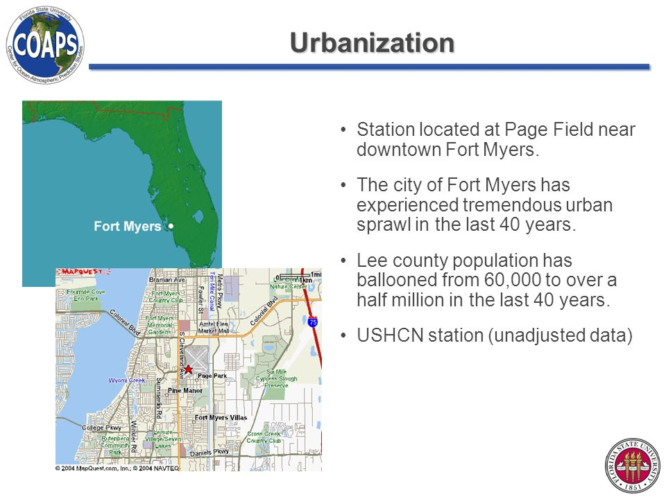 Urbanization Station located at Page Field near downtown Fort Myers. The city of Fort Myers has experienced tremendous urban sprawl in the last 40 yea