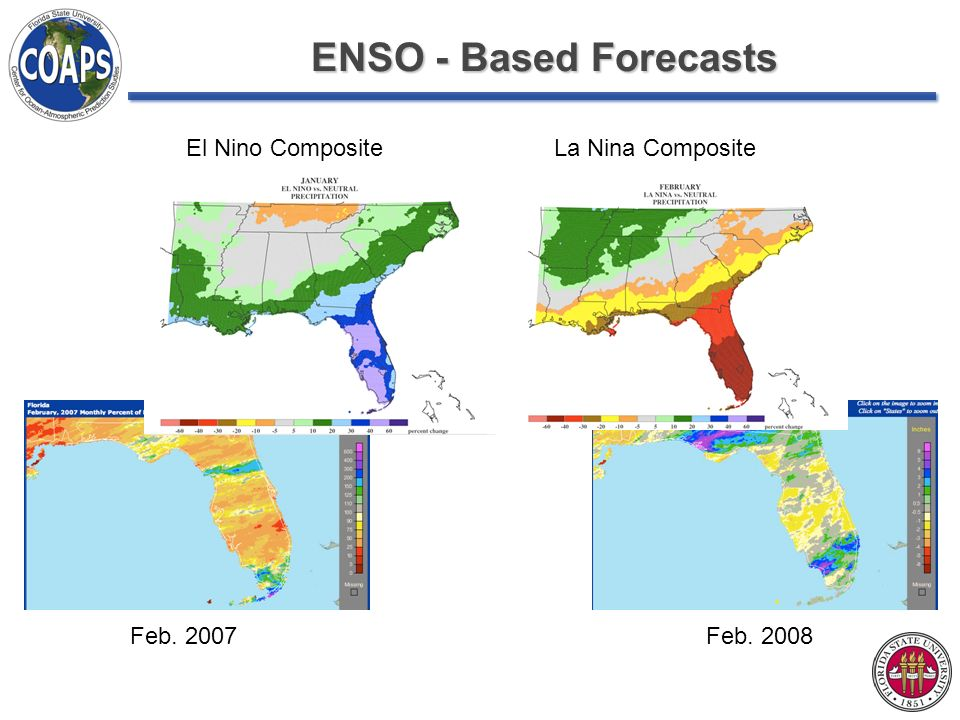 ENSO - Based Forecasts El Nino CompositeLa Nina Composite Feb. 2007Feb. 2008