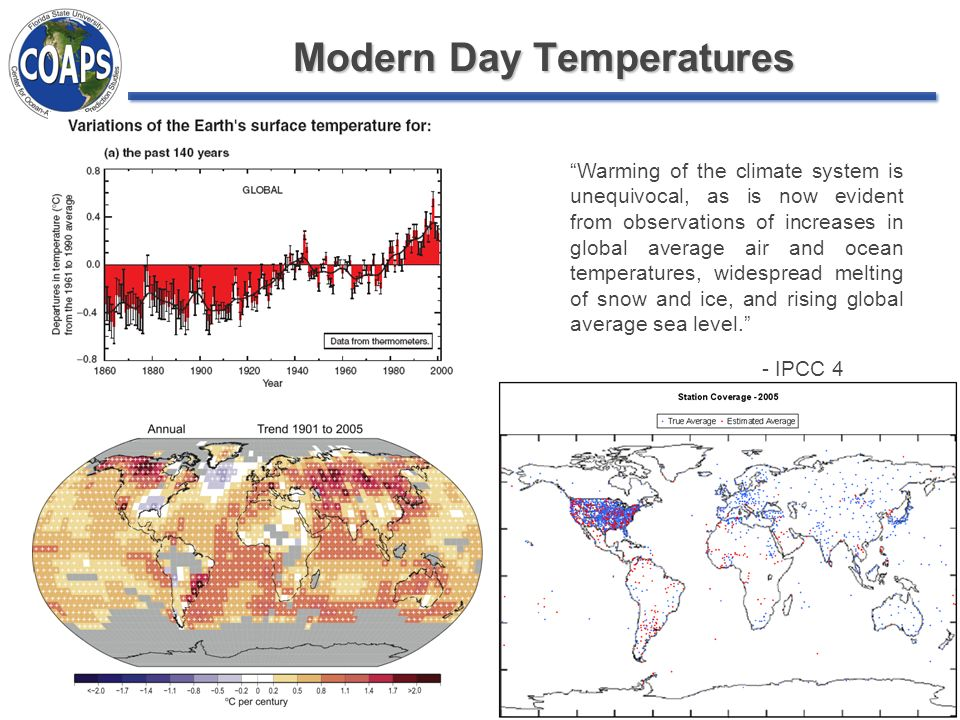 Modern Day Temperatures Warming of the climate system is unequivocal, as is now evident from observations of increases in global average air and ocean