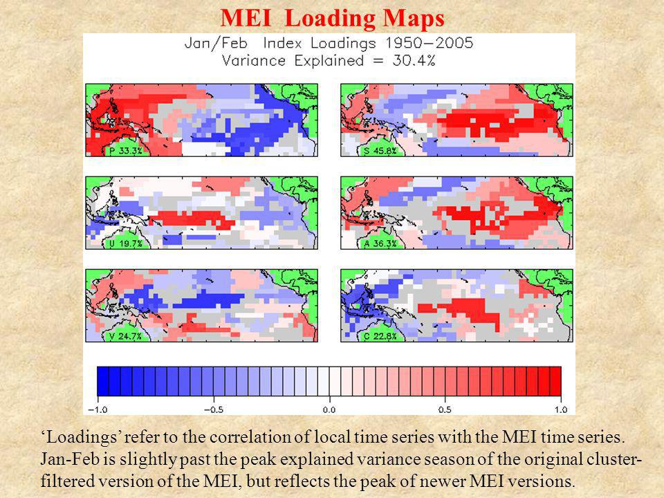 MEI Loading Maps Loadings refer to the correlation of local time series with the MEI time series. Jan-Feb is slightly past the peak explained variance