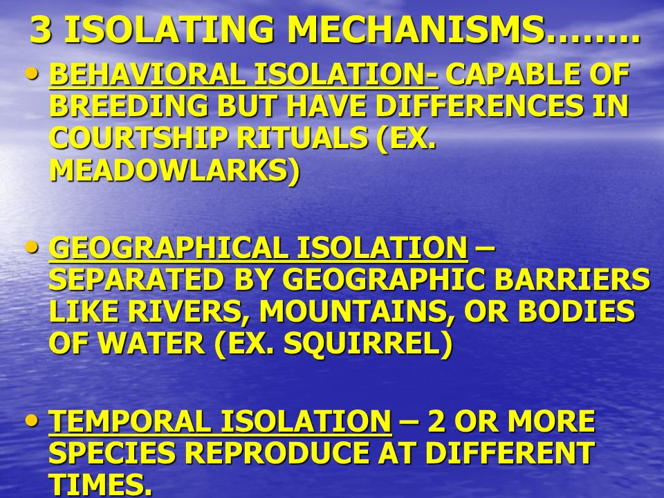 3 ISOLATING MECHANISMS…….. BEHAVIORAL ISOLATION- CAPABLE OF BREEDING BUT HAVE DIFFERENCES IN COURTSHIP RITUALS (EX. MEADOWLARKS) BEHAVIORAL ISOLATION-