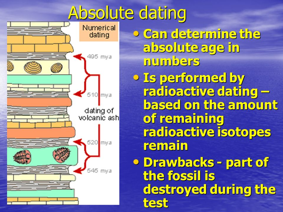 Absolute dating Can determine the absolute age in numbers Can determine the absolute age in numbers Is performed by radioactive dating – based on the