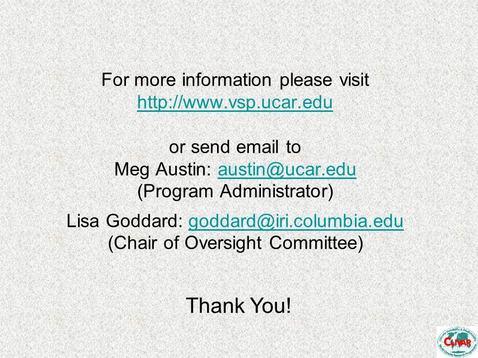 For more information please visit http://www.vsp.ucar.edu or send email to Meg Austin: austin@ucar.edu (Program Administrator) Lisa Goddard: goddard@iri.columbia.edu (Chair of Oversight Committee) http://www.vsp.ucar.eduaustin@ucar.edugoddard@iri.columbia.edu Thank You!