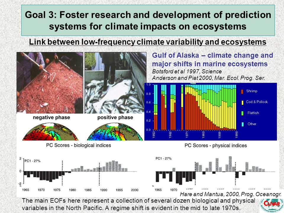 Goal 3: Foster research and development of prediction systems for climate impacts on ecosystems Link between low-frequency climate variability and eco