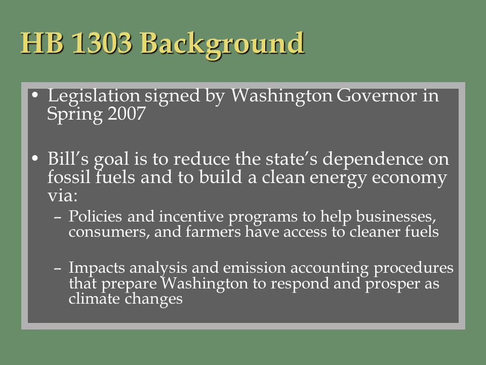 Relationship between Impacts Assessment and Washington State Climate Initiative