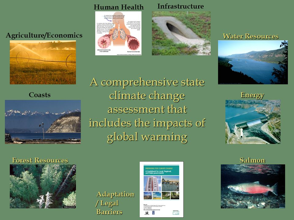 Human Health Agriculture/Economics Salmon Forest Resources CoastsEnergy Infrastructure Water Resources A comprehensive state climate change assessment that includes the impacts of global warming Adaptation / Legal Barriers