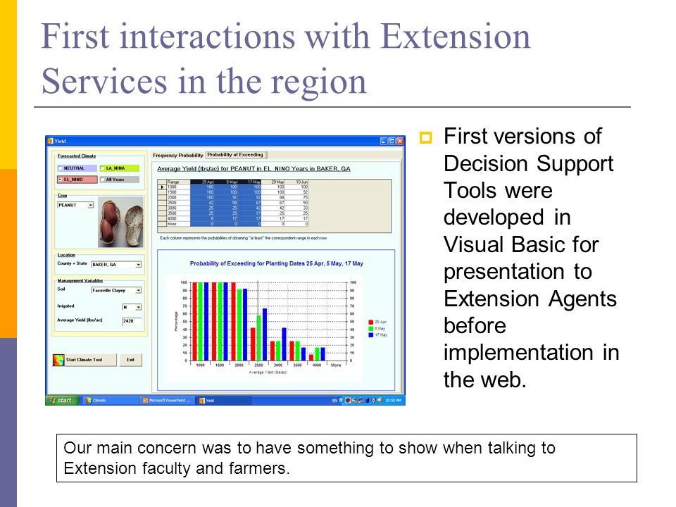First interactions with Extension Services in the region First versions of Decision Support Tools were developed in Visual Basic for presentation to Extension Agents before implementation in the web.