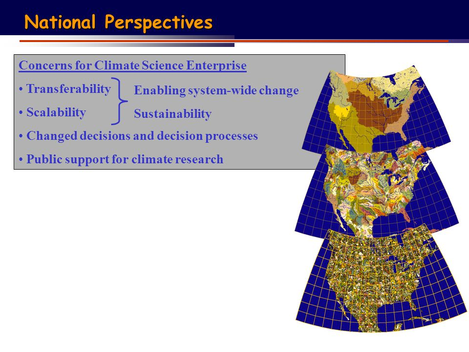 Concerns for Climate Science Enterprise Transferability Scalability Changed decisions and decision processes Public support for climate research Enabling system-wide change Sustainability National Perspectives